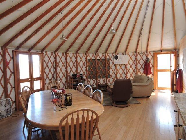Main Yurt Dining and living space