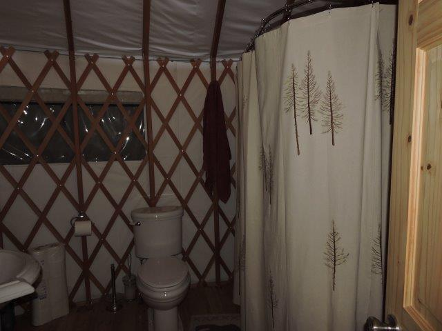 Bathroom with tub/shower Main Yurt